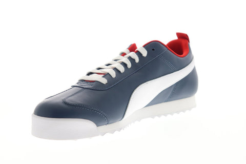Puma Roma Play On 37342101 Mens Blue Leather Lace Up Low