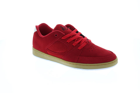 Es Accel Slim Mens Red Suede Athletic Lace Up Skate Shoes