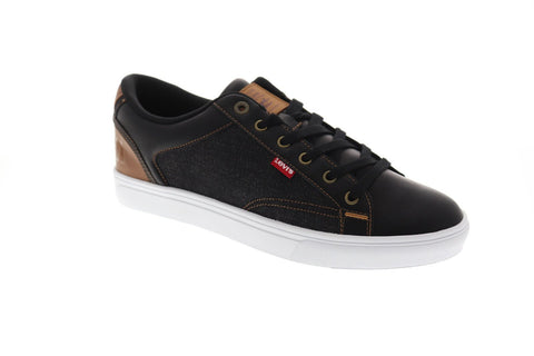 Levis Jeffrey Hi 501 Mens Black Leather & Canvas Low Top  Sneakers Shoes