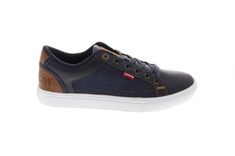Levis Jeffrey Hi 501 Mens Blue Leather & Canvas Low Top  Sneakers Shoes