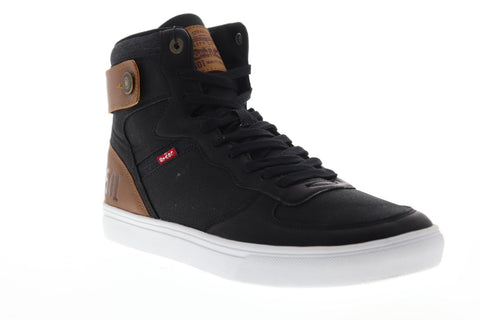 Levis Jeffrey Hi 501 Core Mens Black Canvas High Top Lace Up Sneakers Shoes