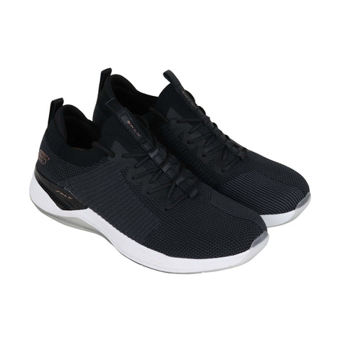 Skechers Modena Mens Black Textile Low Top Lace Up Sneakers Shoes