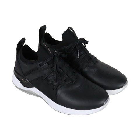 Skechers Pryden Mens Black Leather Low Top Lace Up Sneakers Shoes