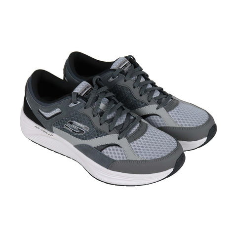 Skechers Alphaborne Mens Gray Mesh Low Top Lace Up Sneakers Shoes