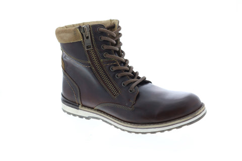 GBX Dern Plain Toe Mens Tan Leather Work Lace Up Boots Shoes