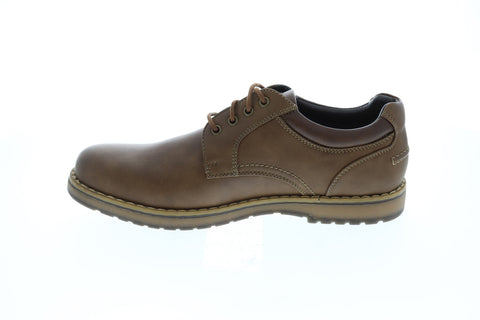 Izod Lewis Mens Brown Leather Casual Dress Lace Up Oxfords Shoes