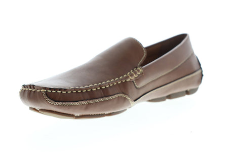 Izod Burney 630214 Mens Brown Leather Casual Slip On Loafers Shoes