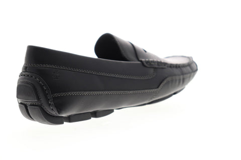 Izod Burre 630228 Mens Black Leather Casual Slip On Loafers Shoes