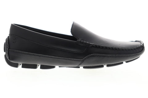 Izod Burney 630230 Mens Black Leather Casual Slip On Loafers Shoes