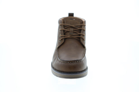 Izod Larsson Mens Brown Leather Casual Dress Lace Up Boots Shoes