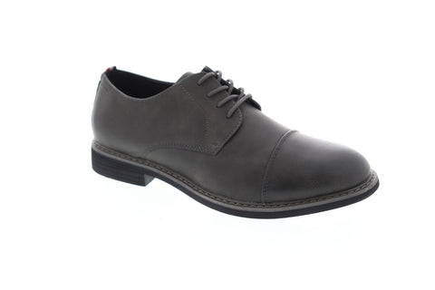 Izod Ike Mens Gray Leather Casual Dress Lace Up Oxfords Shoes