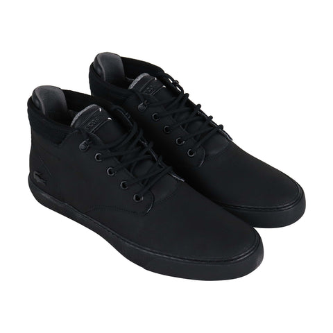 Lacoste Esparre Winter Mens Black Leather Low Top Lace Up Sneakers Shoes