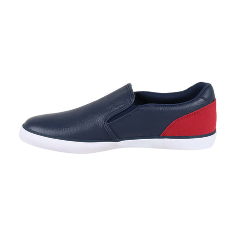 Lacoste Jouer Slip 318 Mens Blue Leather Slip On Sneakers Shoes