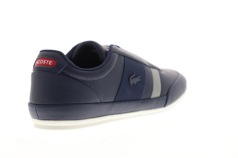Lacoste Misano Elastic Mens Blue Leather Slip On Sneakers Shoes