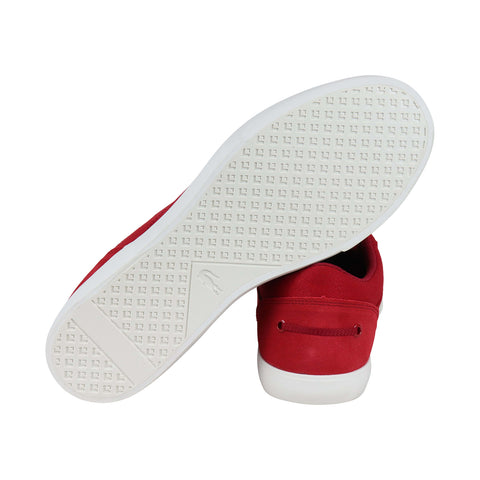 Lacoste Bayliss 219 1 Cma Mens Red Canvas Low Top Lace Up Sneakers Shoes