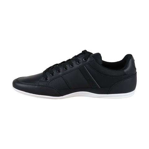 Lacoste Chaymon 219 1 Cma Mens Black Leather Low Top Lace Up Sneakers Shoes