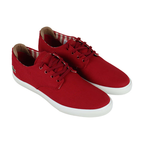 Lacoste Esparre 219 1 Cma Mens Red Canvas Low Top Lace Up Sneakers Shoes