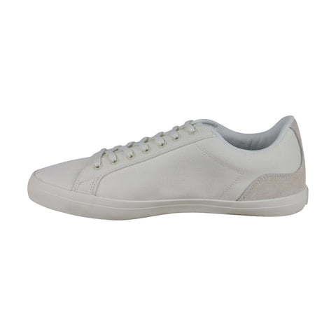 Lacoste Lerond 219 1 Cma Mens White Canvas Low Top Lace Up Sneakers Shoes