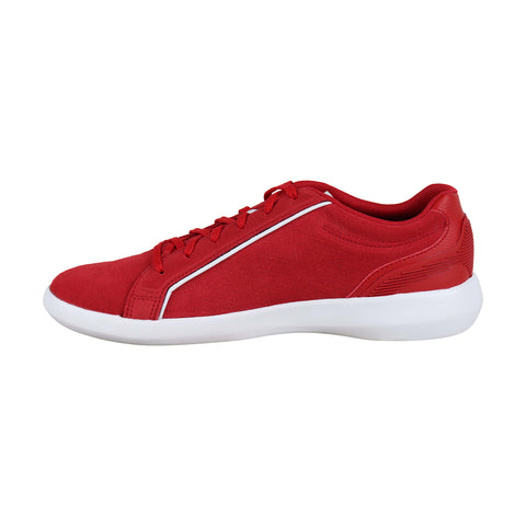 Lacoste Avantor 219 1 Sma Mens Red Suede Low Top Lace Up Sneakers Shoes