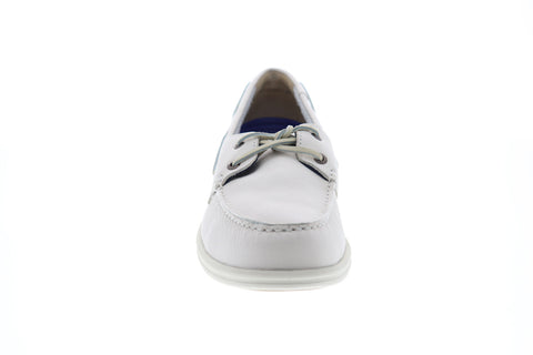 Sebago Naples Mens White Leather Casual Dress Lace Up Boat Shoes