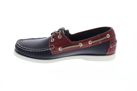 Sebago Spinnaker Mens Blue Leather Casual Dress Lace Up Boat Shoes