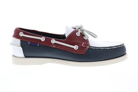 Sebago Portland Spinnaker 70001B0 Mens Blue Wide 2E Leather Boat Shoes Loafers
