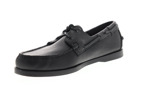 Sebago Portland 7000H00 Mens Black Leather Casual Lace Up Boat Shoes