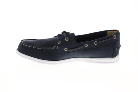 Sebago Litesides Fgl Mens Blue Leather Casual Dress Lace Up Boat Shoes