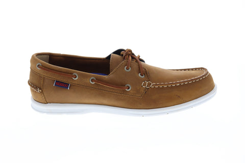 Sebago Litesides Fgl Mens Brown Leather Casual Dress Lace Up Boat Shoes