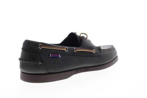 Sebago Docksides Portland Tumb Matte 7002JL0 Mens Black Leather Casual Boat Shoes