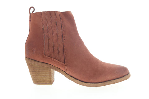 Frye Alton Chelsea 70349 Womens Red Suede Zipper Booties Boots