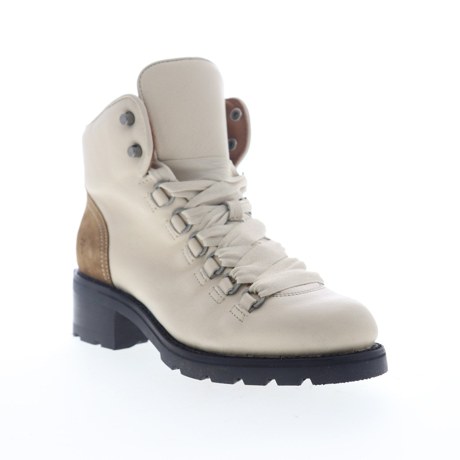 Frye Alta Hiker 70424 Womens White Leather Lace Up Hiker Boots Shoes Ruze Shoes