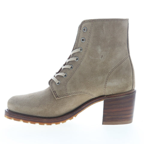 Frye Sabrina 6G Lace Up 78366 Womens Beige Tan Suede Casual Dress Boots