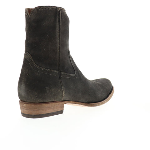 Frye Austin Inside Zip 80079 Mens Black Gray Suede Zipper Western Boots Shoes