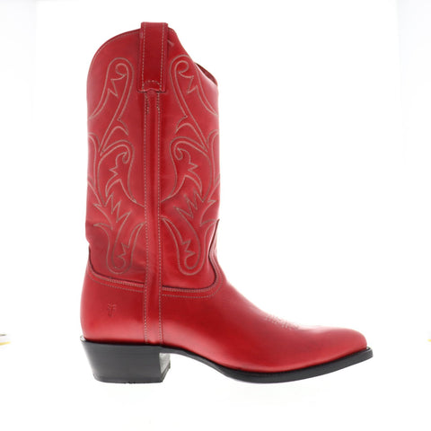 Frye Bruce Pull On 80450 Mens Red Leather Western Slip On Boots Shoes