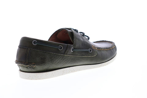 Frye Briggs Boat 80502 Mens Green Leather Lace Up Casual Boat Shoes