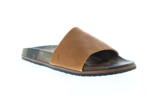 Frye Evan Slide 80511 Mens Brown Leather Slip On Slides Sandals Shoes