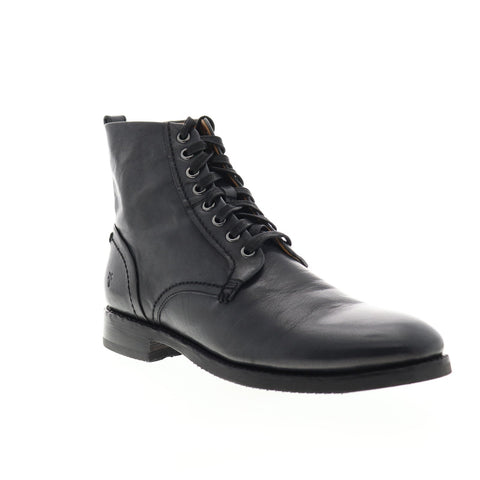 Frye Peyton Lace Up 80600 Mens Black Leather Lace Up Casual Dress Boots Shoes