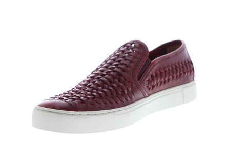 Frye Gabe Woven Slip On Mens Red Leather Slip On Sneakers Shoes