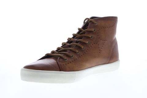Frye Brett Perf Logo High 81511 Mens Brown Leather High Top Sneakers Shoes