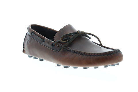 Frye Russel Tie Mens Brown Leather Casual Dress Slip On Loafers Shoes