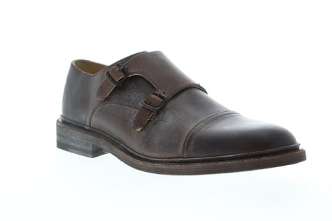 Frye James Double Monk Mens Brown Leather Casual Dress Strap Oxfords Shoes