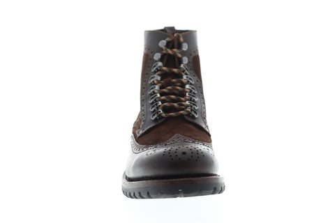 Frye George Mens Brown Leather & Suede Casual Dress Lace Up Boots Shoes