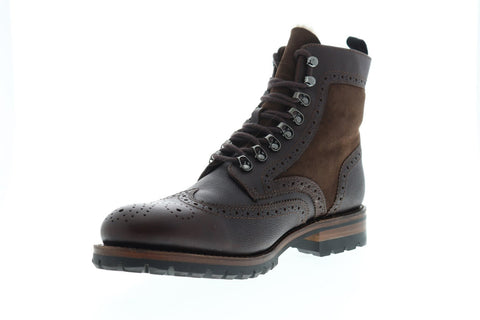 Frye George Mens Brown Leather Casual Dress Lace Up Boots Shoes