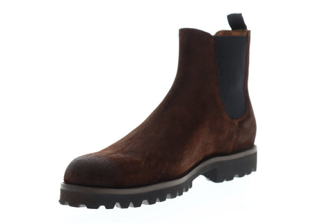 Frye Edwin Chelsea Mens Brown Suede Casual Dress Slip On Boots Shoes