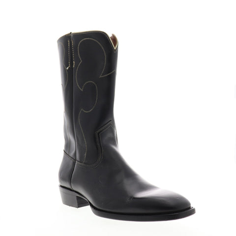 Frye Miles Vintage Stitch Pull On 87630 Mens Black Western Boots Shoes