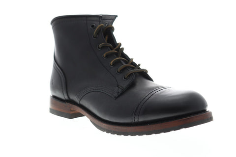 Frye Logan Cap Toe Mens Black Leather Work Lace Up Boots Shoes