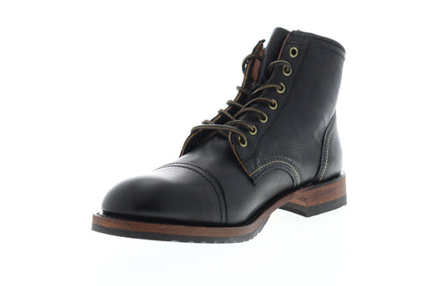 Frye Logan Cap Toe 87917 Mens Black Leather Lace Up Casual Dress Boots Shoes