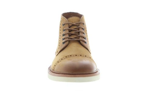 Frye Joel Brogue Chukka Mens Tan Nubuck Casual Dress Lace Up Chukkas Shoes