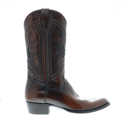 Frye Ross Braided Tall Mens Brown Leather Western Slip On Boots Shoes